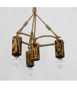 Κρεμαστό φωτιστικό οροφής από ξύλο, μέταλλο και σχοινί 156