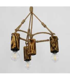 Wood, metal and rope pendant light 156