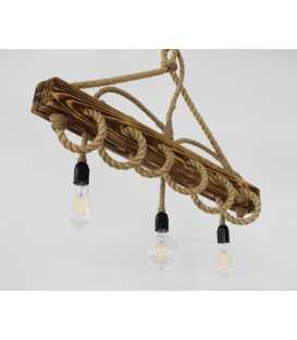 Wood and rope pendant light 157
