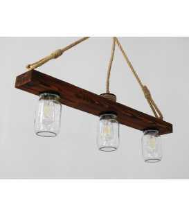 Holz, Seil und Einmachglas hängende Deckenleuchte 162