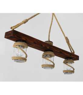 Κρεμαστό φωτιστικό οροφής από ξύλο, σχοινί και γυάλινα βάζα 163