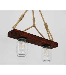 Κρεμαστό φωτιστικό οροφής από ξύλο, σχοινί και γυάλινα βάζα 164