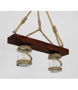 Holz, Seil und Einmachglas hängende Deckenleuchte 165
