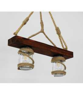 Wood, rope and jar pendant light 165