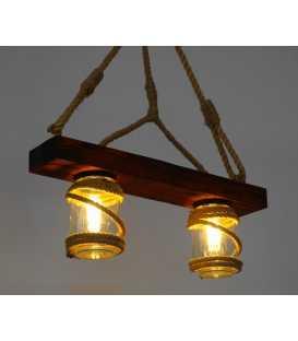 Κρεμαστό φωτιστικό οροφής από ξύλο, σχοινί και γυάλινα βάζα 165
