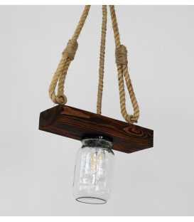 Κρεμαστό φωτιστικό οροφής από ξύλο, σχοινί και γυάλινα βάζα 166