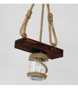 Wood, rope and jar pendant light 167