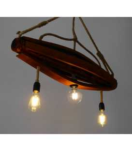 Wood and rope pendant light 170