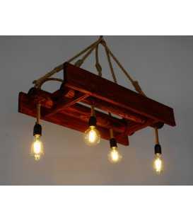 Holz und Seil hängende Deckenleuchte 173