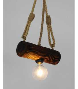 Wood and rope pendant light 174
