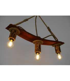 Κρεμαστό φωτιστικό οροφής από ξύλο και σχοινί 176
