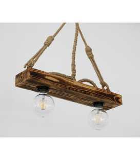 Κρεμαστό φωτιστικό οροφής από ξύλο και σχοινί 177