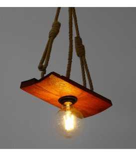 Κρεμαστό φωτιστικό οροφής από ξύλο και σχοινί 179